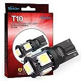 T10 LED ウエッジタイプ 電球  Yorkim® 2015年最新、五世代,車内ランプ W5W 194 168 2825 5連 5050 チップ SMD,置換ナンバー灯、クリアランスランプ、高輝度環境省エネランプ(10個 セット)