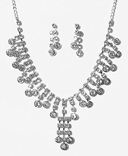 DollsofIndia White Stone Studded Party Necklace With Earrings - Stone And Metal - White
