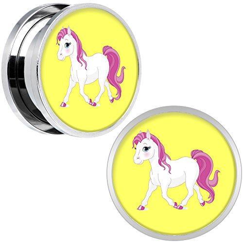 Body Candy Stainless Steel Blushing Pink White Pony Screw Fit Double Flare Plug Pair 18mm (Pony Plug Adult compare prices)