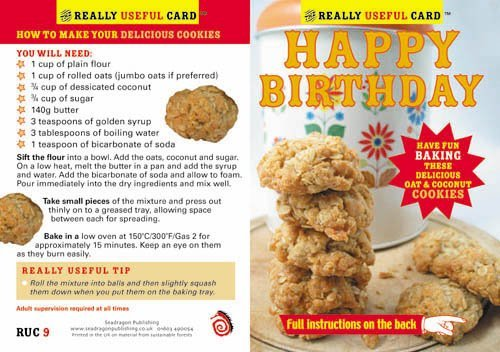 Birthday Card  a delicious recipe for oat and
