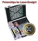 51CEFIcKXeL. SL160  Luxus Casino Set 600 Laser Chips 11,5g Plastikkarten