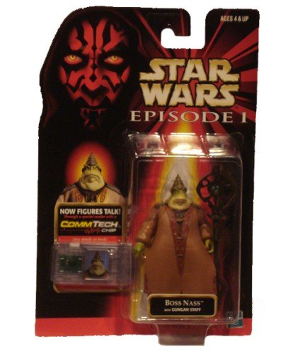 STAR WARS EPISODE I- BOSS NASS with GUNGAN STAFF and COMMTECH CHIP - 1