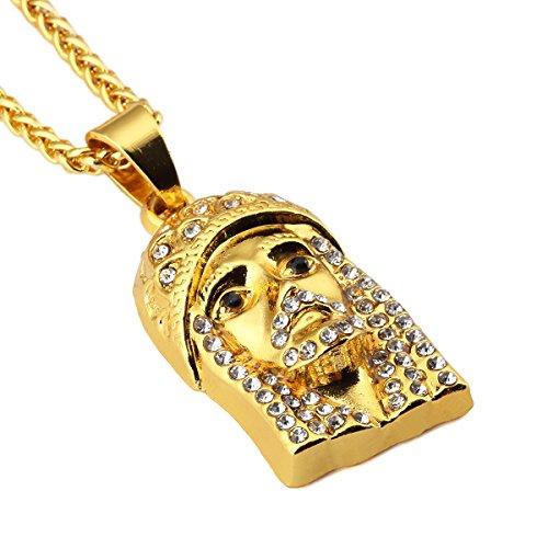 nyuk da uomo ciondolo in oro Gesù Hip Hop collana in lega di zinco