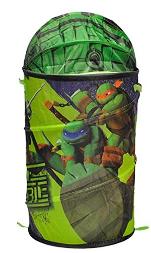 Ninja Turtle Pop-Up Hamper with Dome Lid, Kids Clothes Hamper With Retractable Lid With 3D Detail - 30 x 15 in (Ninja Turtle Pop Up Hamper compare prices)