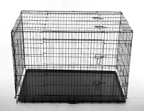 "Pawhut 42"" 3-Door Folding Wire Pet Dog Crate W/ Divider - 42""L X 28""W X 31""H front-385211"