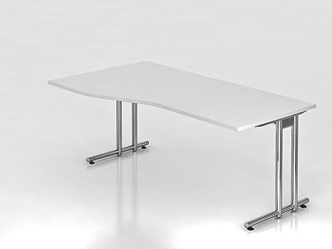 Scrivania C--180x 100/80cm, colore: bianco/cromato