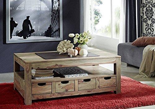 Sheesham Massivholz Couchtisch 120x70 Palisander Möbel massiv Holz Nature Grey #33