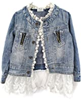 Urparcel Girls Jacket Denim Jean Lace Outerwear Overcoat Cowboy Coat Collarless