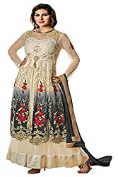 Justkartit Women's Multi Colour Resham Embroidery With Diamond Stone Work Engagement Wear Gown (New Year Collection) (Ceremony wear Gown)
