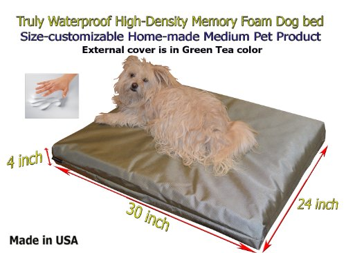 "Home-Made Truly Waterproof Customizable 30""X24""X4"" Memory Foam Premium Light Green Tea Dog Bed"