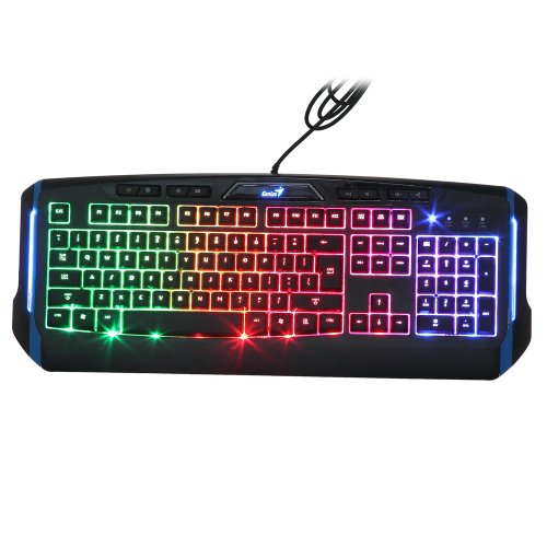 Genius Neue LED Ergonomische Helligkeit 7 Farbe LED-Backlit Tastatur Beleuchtet Hinter Licht USB Wired Tastatur Gaming Beleuchtet Computertastatur Gaming Computer PC Tastatur Illuminated Gaming Tastatur für Vista, Windows 7/8 usw.