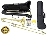 Image of D'Luca 750L 750 Series Brass Bb Tenor Slide Trombone, Professional Case, Cleaning Kit, Gold