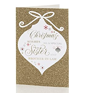 Sister & Brother-In-Law - Glitter Christmas Card