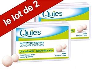 Quies Boules Natural Wax Earplugs Pack 2 x 12 Pairs of Earplugs