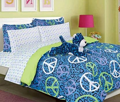 Fresh Multiple Size Girls Kids Bedding Annie Blue Leopard Bed in a Bag Comforter Set
