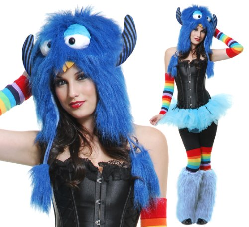 Charades Adult Blue Rave Monster Costume Furry Hood Hat
