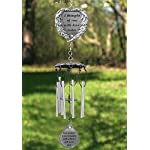 Memorial Windchimes - I Thought of You With Love Today Poem Engraved on this Wind Chime - Angel Wings Wrapped Around a Heart and Teardrop Charm - In Loving Memory Chimes