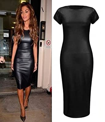 Crazy Girls Womens Ladies NICOLE Black Bodycon PVC Wet Look Midi Dress