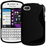 Solid Black S Curve XYLO-GEL Skin / Case / Back Cover for the BlackBerry Q10 Mobile Phone.