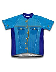 Blue Western Denim Short Sleeve Cycling Jersey for Women