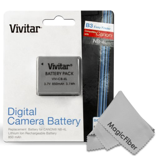 Vivitar Nb-4L Ultra High Capacity 850 Mah Li-Ion Battery For Canon Powershot Elph 100 300 310 330 Hs Sd780 Sd1400 Is Sd1100 Is Sd960 Is Sd940 Is Sd 780 Is Vixia Mini (Canon Nb-4L Replacement)