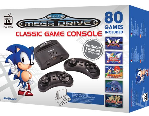 Go back to the 90s with this Sega Mega Drive Classic Game Console with 80 Games and two wireless controllers.