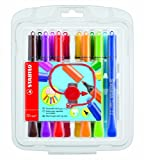 Stabilo Cappi Fibre Tip Coloring Pens with Triangular Grip Zone (Pack of 12)