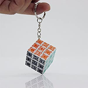 Set of 6 Mini 3x3x3 Keychain magic cube puzzle White with Smile