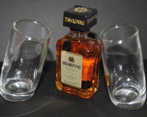 pair-of-ludico-tilted-shot-glasses60ml-with-amaretto-disaronno-liqueur-5cl-miniature