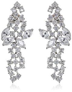"CZ by Kenneth Jay Lane ""Elegant Cubic Zirconia"" Rhodium-Plated Post Earrings"