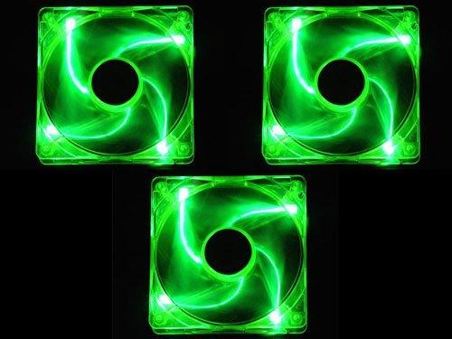 Apevia 120Mm 4Pin Uv Green Led Case Fan (3-Pk)