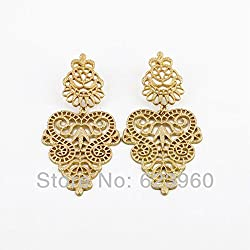 Elegant Gold Color Metal Hollow Earrings Jewelry For Girls Ladies By JewelQueen
