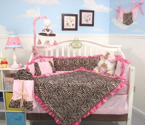 SoHo Pink Zebra Chenille Crib Nursery Bedding 10 pcs Set
