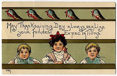 Post Card Children Thanksgiving Table H.B.G.