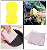 SUPER VALUE COMBO!! 1 Cleaning Sponge + 3 HOKIPO Natural Fiber Cleaning Cloth