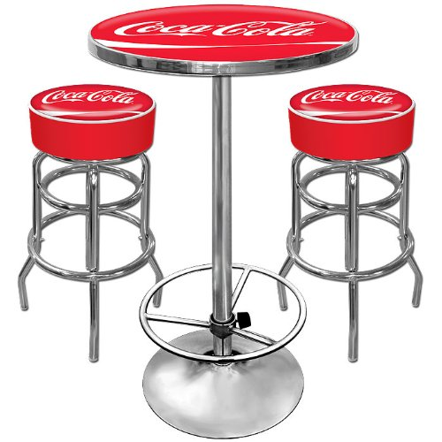 NEW Ultimate Coca-Cola Gameroom Combo - 2 Bar Stools and Table (Game Room Products)