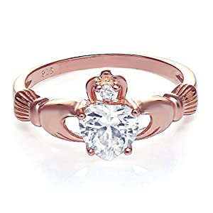 Rose Gold Tone Sterling Silver Claddagh Promise Ring For Her with Clear Cubic Zirconia, 8mm