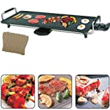 Vivo Electric Teppanyaki Large Table Top Grill Griddle BBQ Barbecue Camping 8 Spatulas 2000 Watts