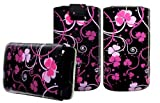 Wayzon Premium Quality Organic PU Leather Pacific Floral Slide iN Pull Tab Pouch Case Cover Skin Wallet Holster Pocket For Blackberry Pearl 3G 9105