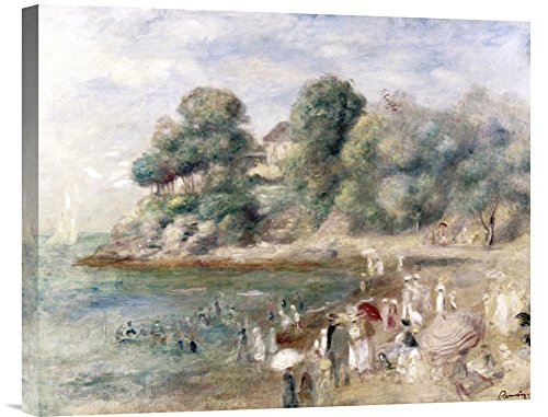 """Global Gallery """"Pierre Auguste Renoir Beach At Pornic"""" Gallery Wrap Giclee on Canvas Wall Art Print"""