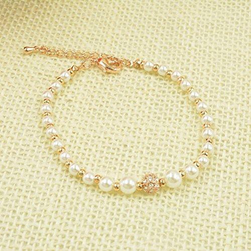 """XJoel Perla d'acqua dolce ragazze e perla braccialetto rosa spiaggia d'oro 8.6 """""""