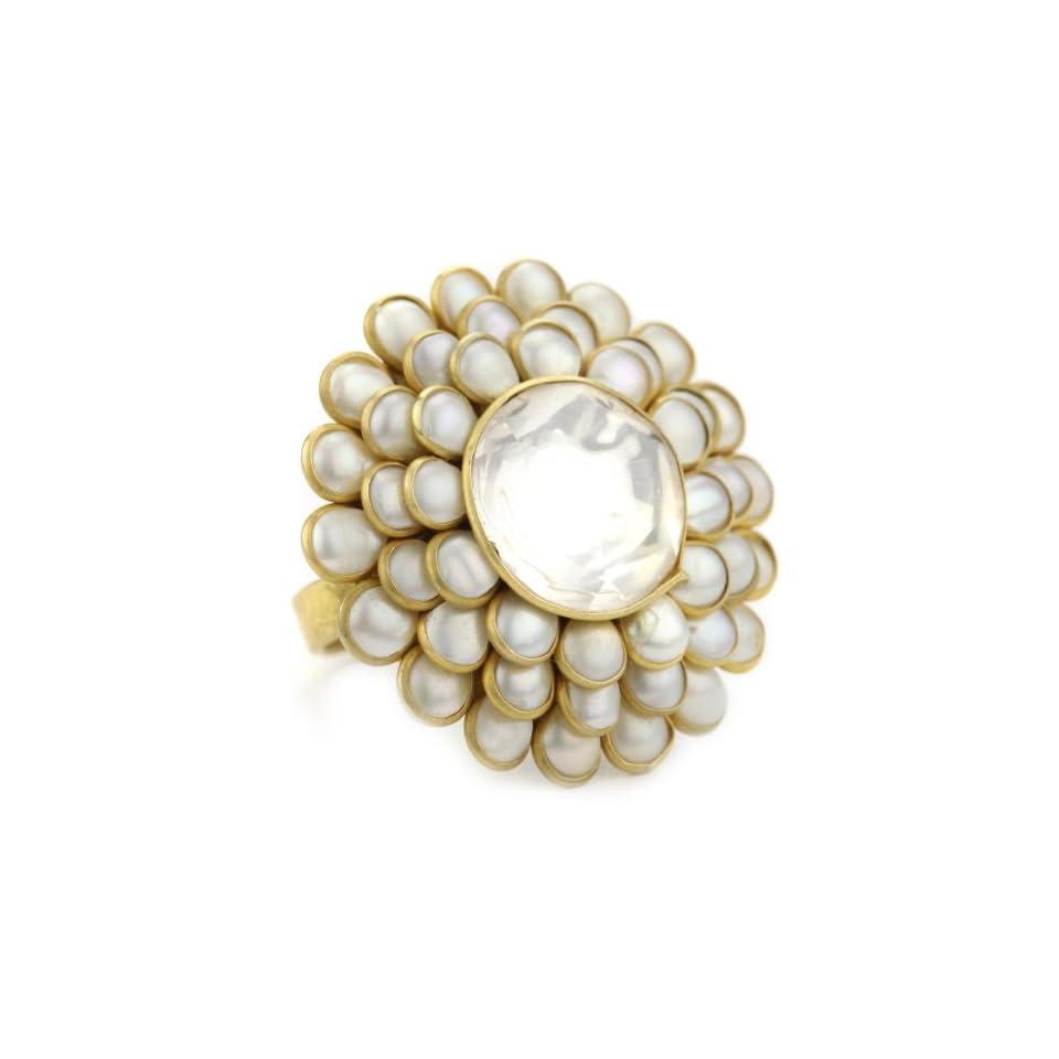 Zariin The Daisy Flower Pearl Adjustable Ring