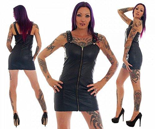 FWT Fashionworld-Trade Lederkleid echt Leder Kleid Rindsleder Trägerkleid Minikleid schwarz alle Größen, Konfektionsgröße Damen:L 44/46
