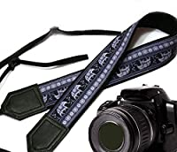 Lucky Elephants camera strap. Black and grey ethnic camera strap. Black DSLR / SLR Camera Strap with Indian motives. Durable, light weight and well padded camera strap. code 00114