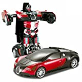 Smiles Creation High Quality Transforming Autobot 2.4G RC Robotic Bugatti Car With Dancing Mode Toy for Kids