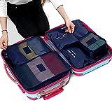 【福美康】 トラベル ポーチ 6点 セット パッキング キューブ オーガナイザー 旅行 出張 整理整頓 アレンジケース スーツケース インナー バッグ パック (青)