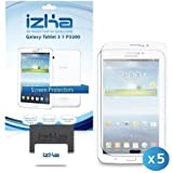 iZKA® - Crystal Clear LCD Screen Protector Cover Guard For Samsung Galaxy Tab 3 7.0 - (Pack of 5) Includes Micro Fibre Cleaning Cloth & Application Card ~ {Fits Tab 3 7 inch Models P3200, P3210}