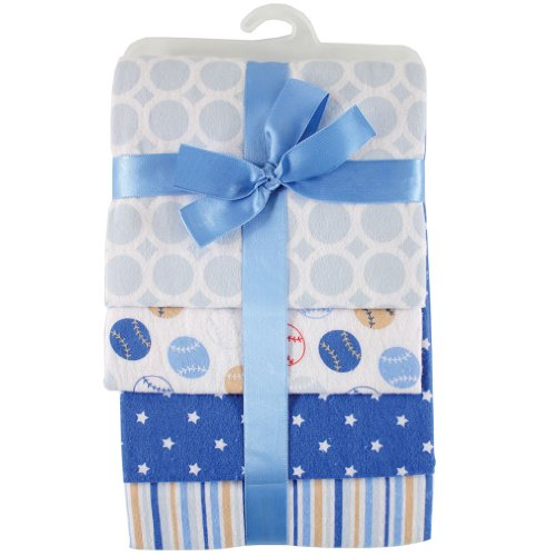 Hudson Baby Flannel Receiving Blankets, Blue