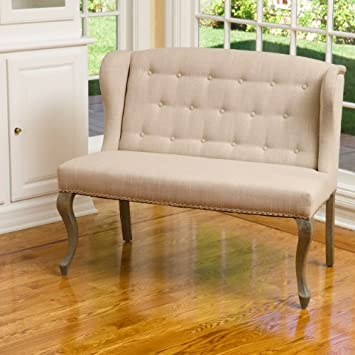 Eva Sand Tufted Fabric Loveseat