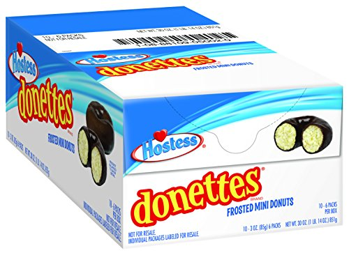 Hostess Donettes, Chocolate, 6 Donuts (Pack of 10)